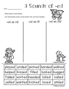 Superheroes 3 Sounds Of Ed Card Sort And Worksheet Suffix Ed Practice Word Work Stations Suffix Ed Word Work