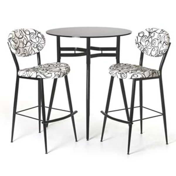 Opus Pub Set   Viking Casual Furniture From Amisco Three Piece Special  Group With A Round Bistro Table And Two Chairs In Swirl Pattern Material.