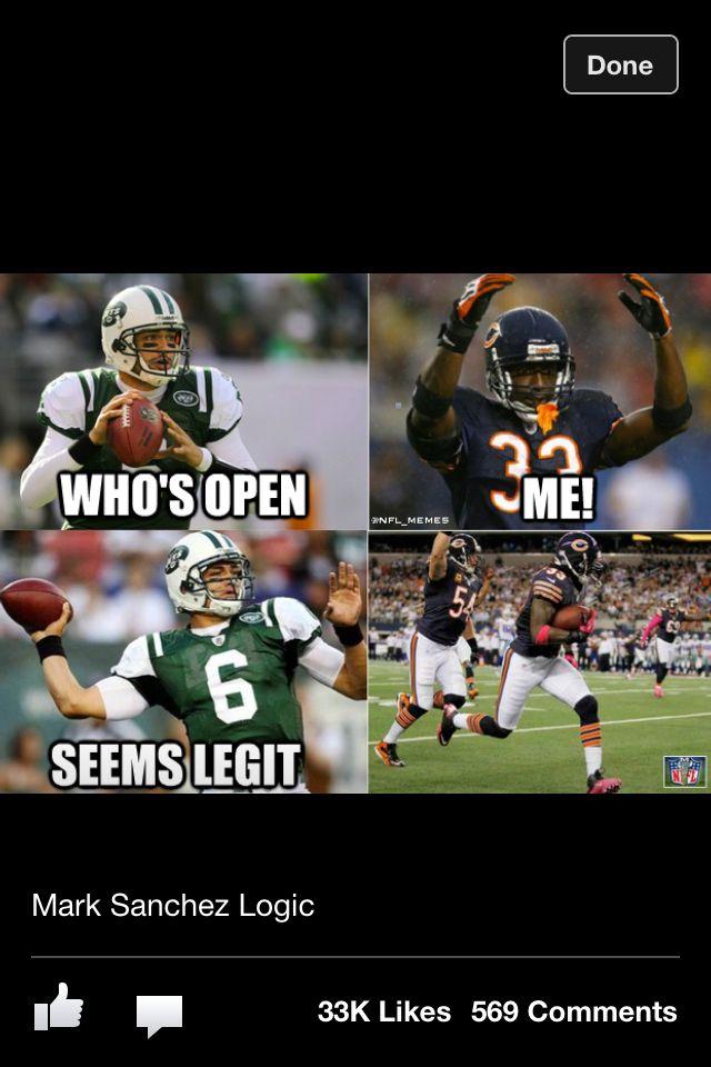 Mark Sanchez Logic Funny Football Memes Funny Sports Memes Nfl Funny