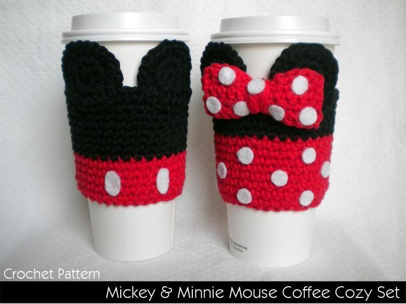 Mickey & MInnie Coffee Cozies | Crochet | Pinterest | Proyectos de ...
