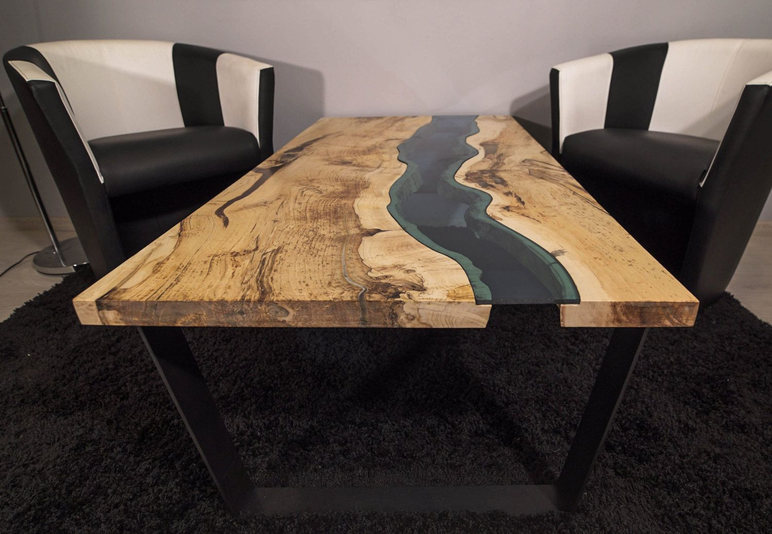 Harkavy furniture focuses on modern pieces made of wood and steel - Live Edge River Coffee Table Coffee Table Wood Timber River Table River Glow In The Dark
