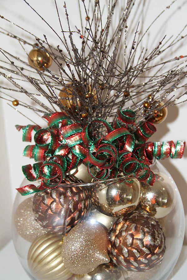 Gold Red And Green Christmas Pinecone Centerpiece Unique Holiday Decor By Preservemymemories On