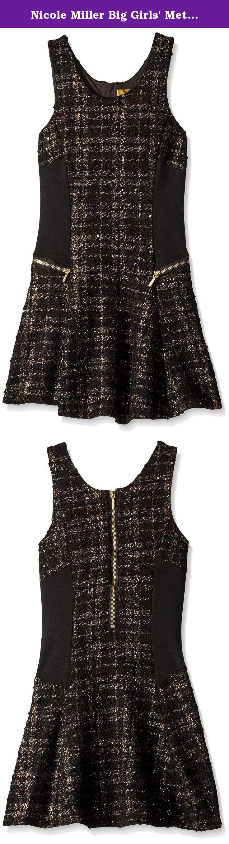 Nicole Miller Big Girls' Metallic Yarn Dyed Knit Boucle Skater Dress, Black, Small. Metallic yarn dyed knit boucle skater dress. Solid knit side panel. Front zip accents.