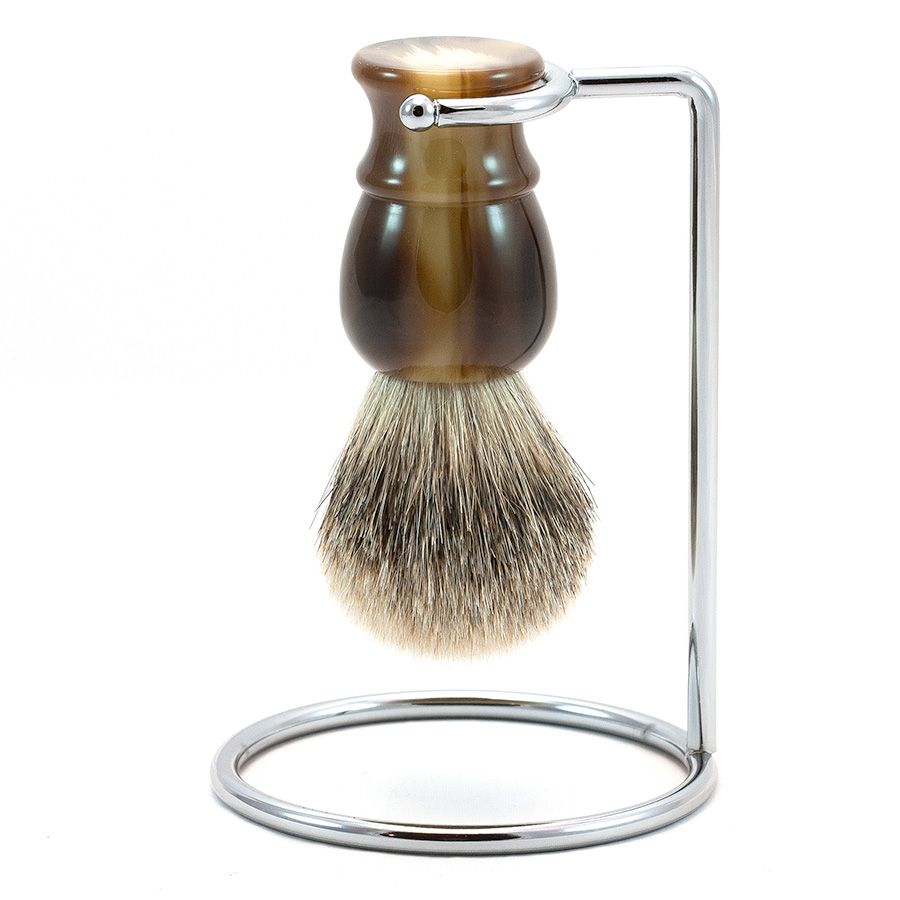 Silvertip Shaving Brush and Metal Stand, Imitation Horn Handle | Fendrihan Shaving Store