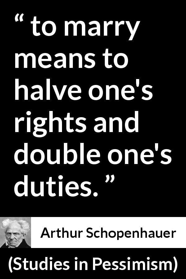 "Arthur Schopenhauer about marriage (""Studies in Pessimism ..."