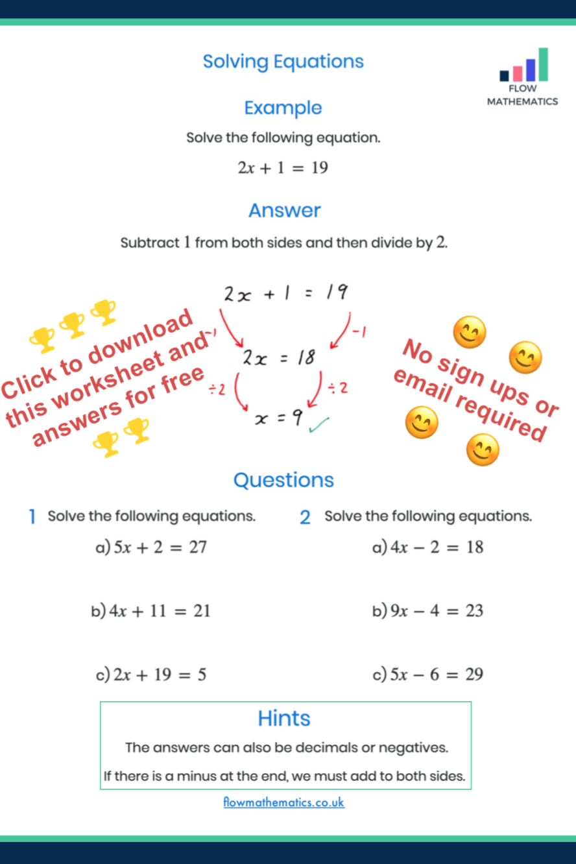 Solving Equations Worksheet Solving Equations Studying Math Equations [ 1332 x 888 Pixel ]