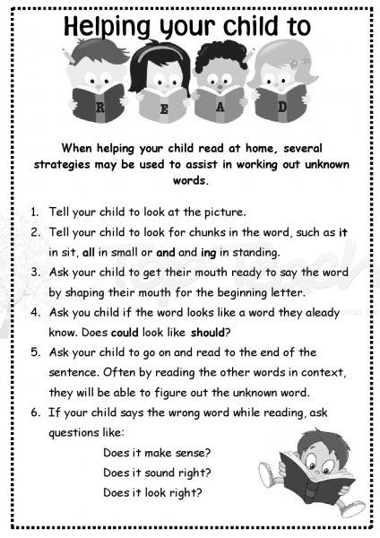 Home reading letter for parents. Great hints and tips.