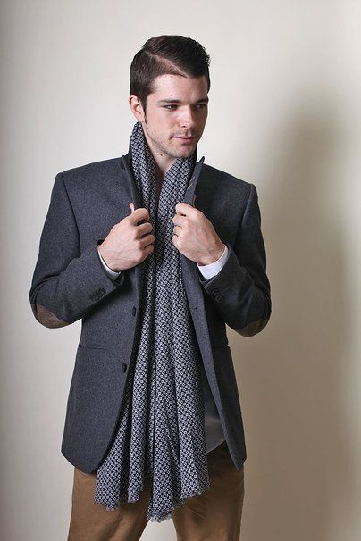 Men's Geneva Classic Blue White Natural Cotton Scarf at Amazon Men's Clothing store: