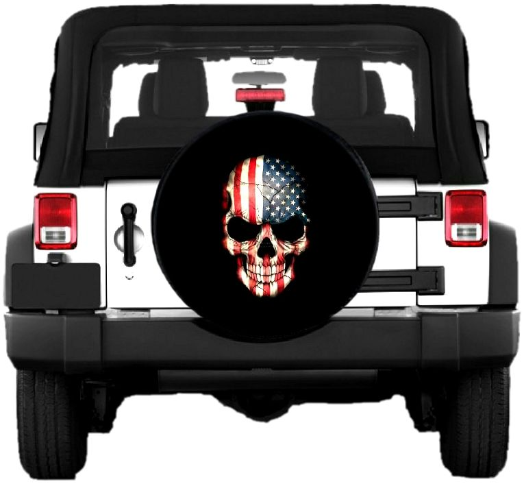 American Flag Skull Tire Cover Tire Cover Black And White Flag