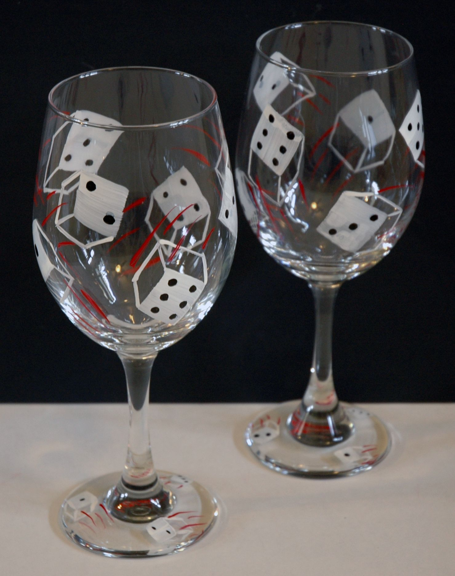 2 Large (20 Oz) Handpainted Wine Glasses Approximately 9 Tall Food
