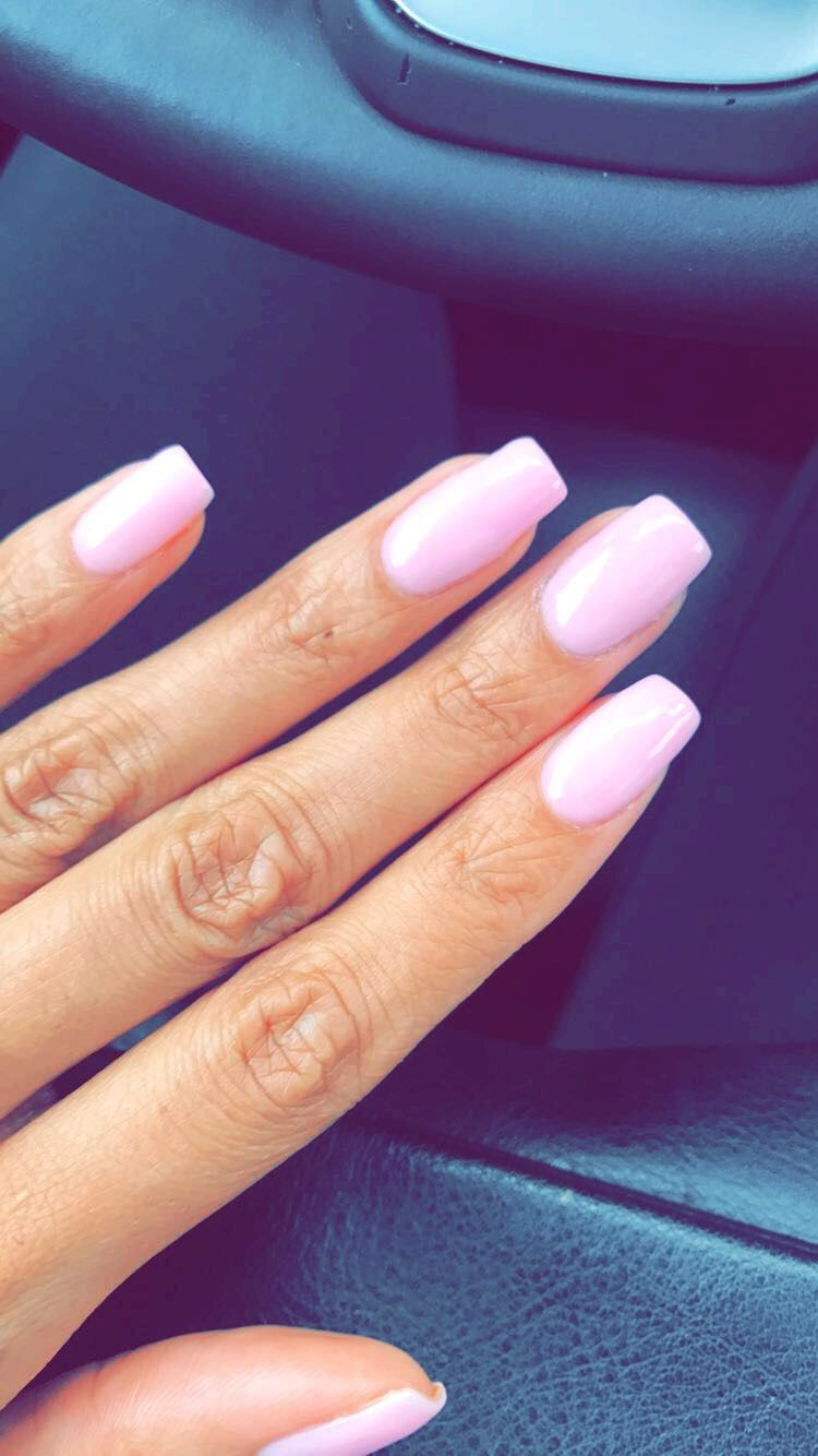 Pink nails. All natural. Thin coat. Powder nails. Shellac. Pretty ...