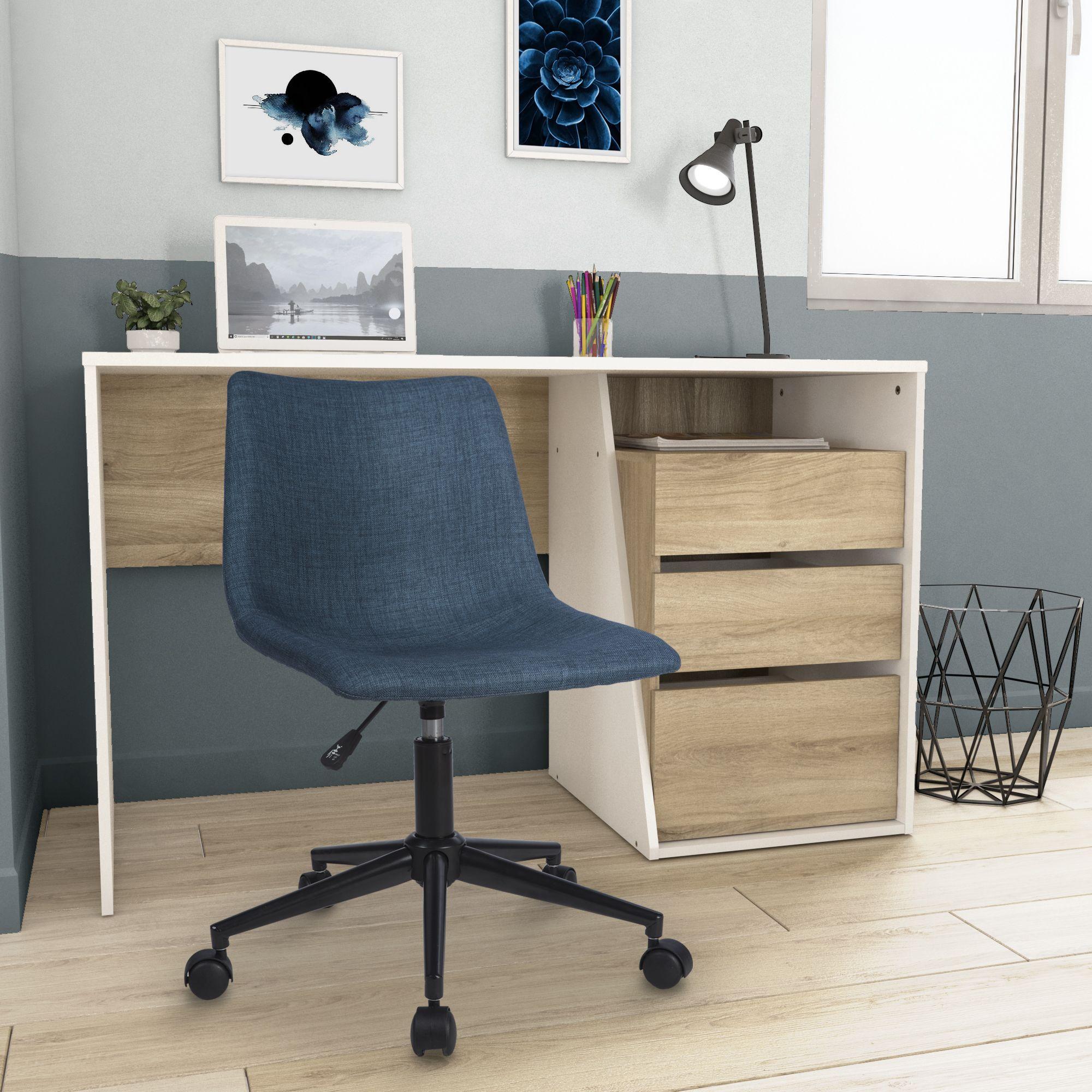 Chaise De Bureau Pivotante A Roulettes En Tissu Bleu Avec Dossier Et Hauteur Reglable Chaise Bureau Bureau Etudiant Mobilier De Salon