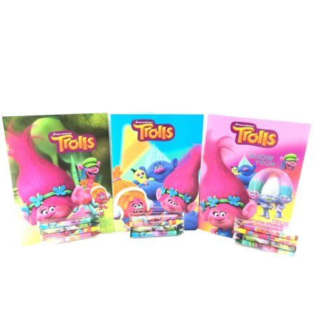 Party Favors Trolls Coloring Book Crayon Set 12 Pack Assorted Style Walmart Com Crayon Set Trolls Birthday Party Candy Land Birthday Party