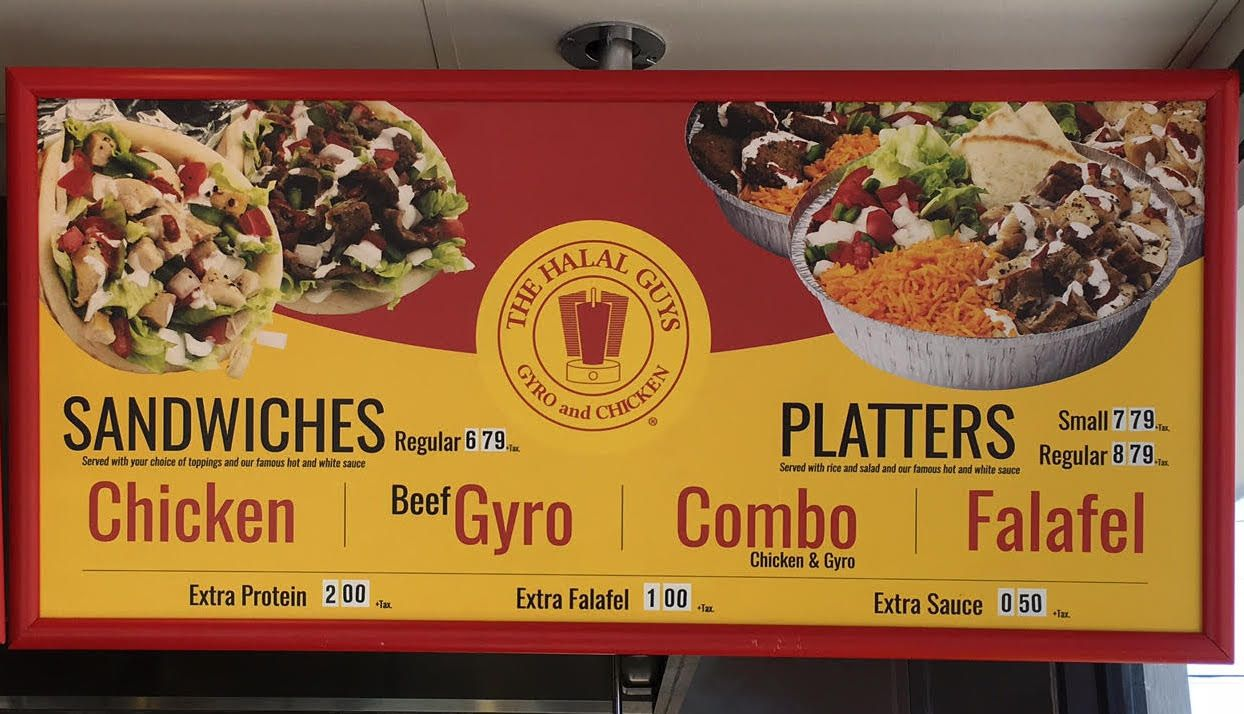 Scope The Menu For The Halal Guys Now Open On Buford Highway Halal Beef Gyro Food Menu