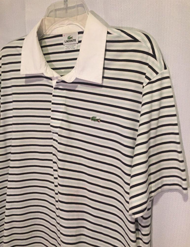 9d350215 Lacoste Polo Mens Large Shirt Size 6 Blue White Green Stripes Short Sleeve  | shop_half