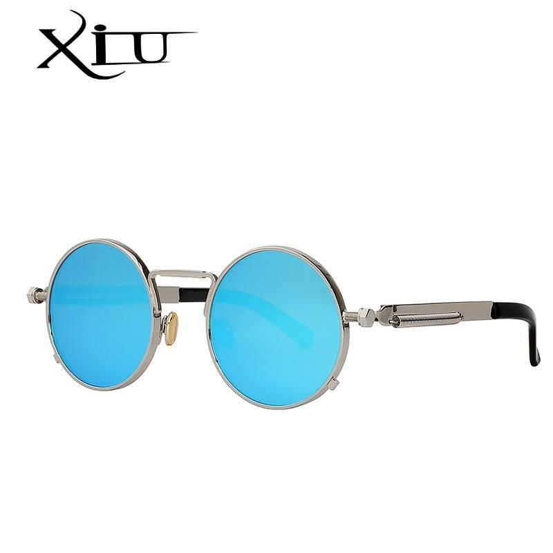 4171f4a57799 FuzWeb:XIU Round Circle Steampunk Sunglasses Men Women Vintage Retro  Sunglass Brand Design Mirror Lens Luxury Quality Eyeglasses UV400