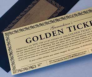 Golden Ticket For Invitations