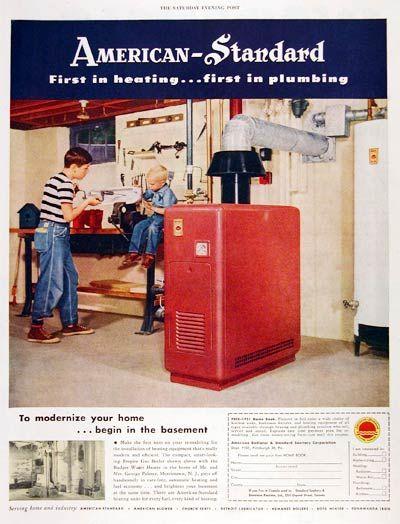 Vintage Advertisement Features The Empire Gas Boiler Furnace Alongside Vintage Appliances Vintage Advertisement Furnace Repair