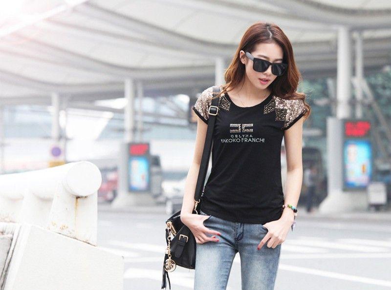 Aliexpress.com: Comprar 2015 de corea del sur mujer estilo de manga corta camisa de algodón que basa grandes patios loose cotton T shirt mujeres camiseta AS 63 de T- shirt 3d fiable proveedores en Sunshiny Fashion, Latest, Speed.