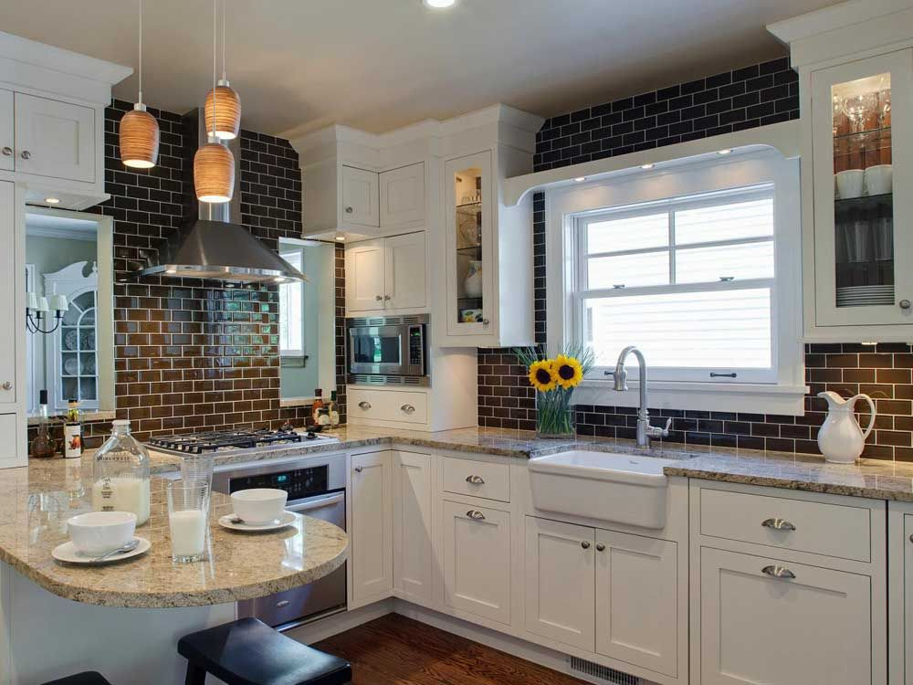 Attrayant Mosaic Tile For Kitchen Ideas With Beige Granite Countertops Eased Edges  White Lacquered Wood Kitchen Cupboards Orange Glass Pendant Lightin