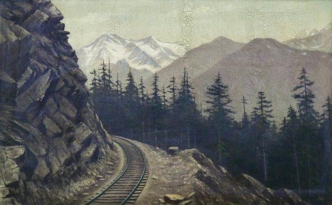 Lot 247- Gus Chilberg (19th/20th Cent. Washington) ''Snoqualmie Pass, Cascade Range. Along the Milwaukee R.R.'' Oil on Canvas 14''x22'' Image. Depicting railroad tracks and the Cascade mountains. An early Everett, Washington artist. Signed and inscribed on verso. Total framed size 16.5''x24.5''. Overall craquelure throughout.