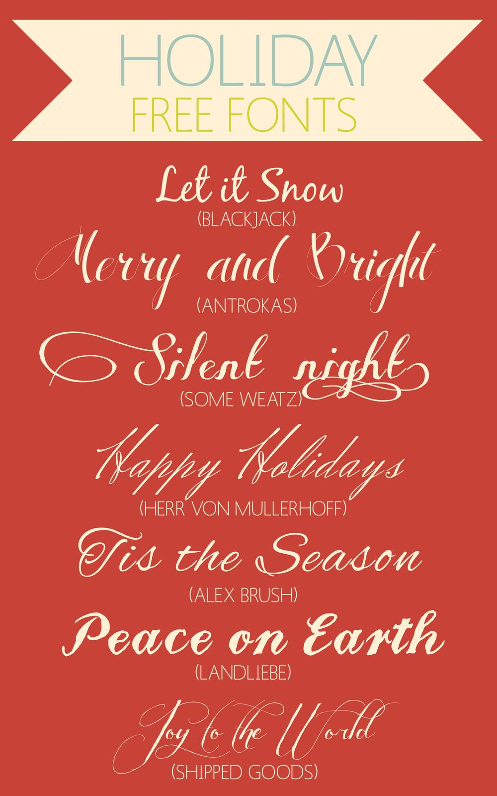 Free holiday script fonts design lettering