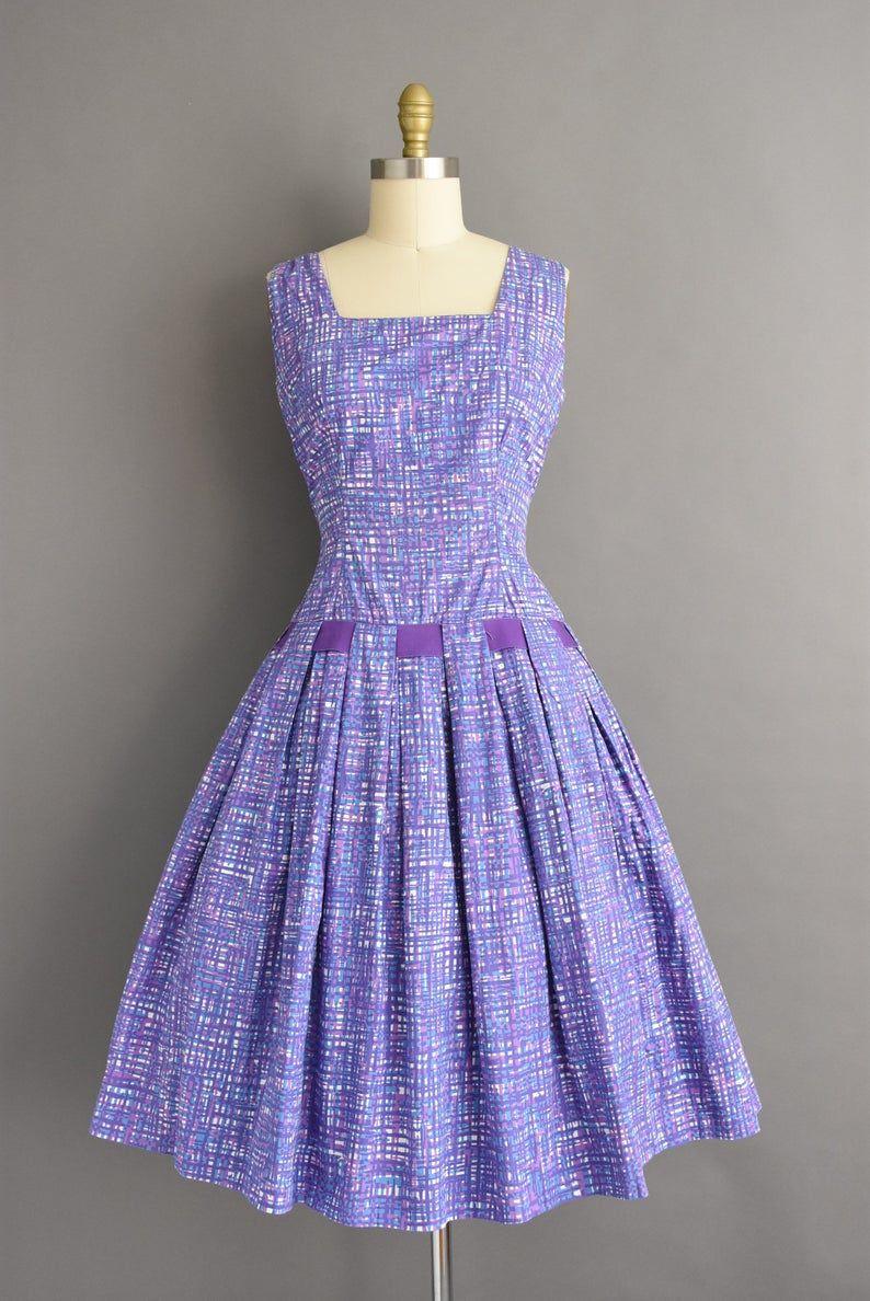 Vintage 1950s Adorable Purple Plaid Print Sweeping Full Etsy In 2020 1950 Vintage Dresses Dresses Vintage Dresses [ 1188 x 794 Pixel ]