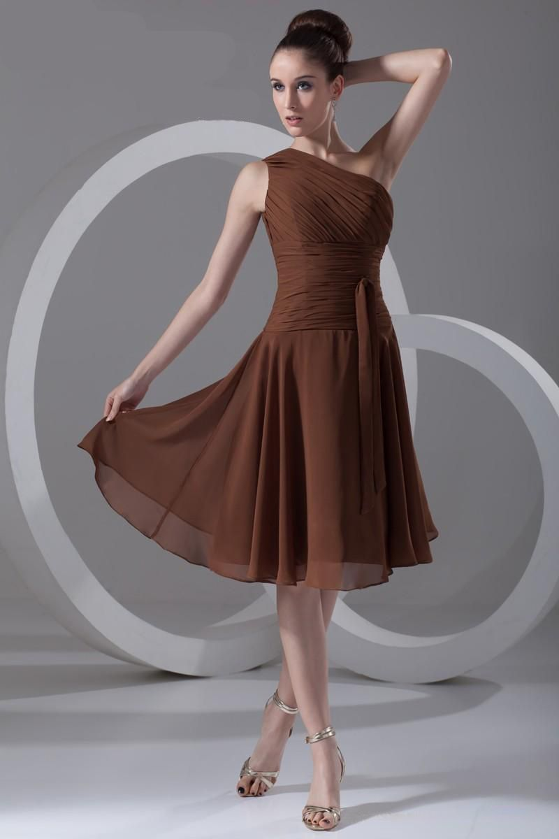 A-line One Shoulder Chiffon Bridesmaid Dress  Vestidos coctel