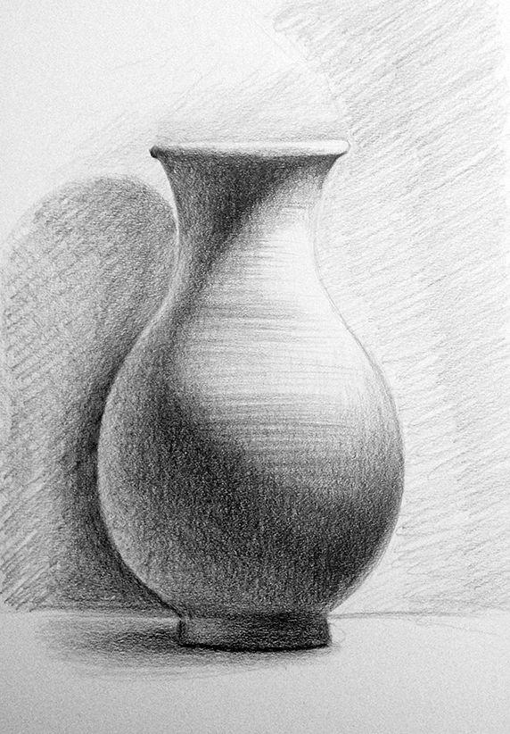Pencil drawing - Still life - Terracotta vase - object ...