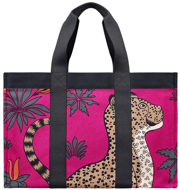 Hermes Leopard Beach Bag Purple