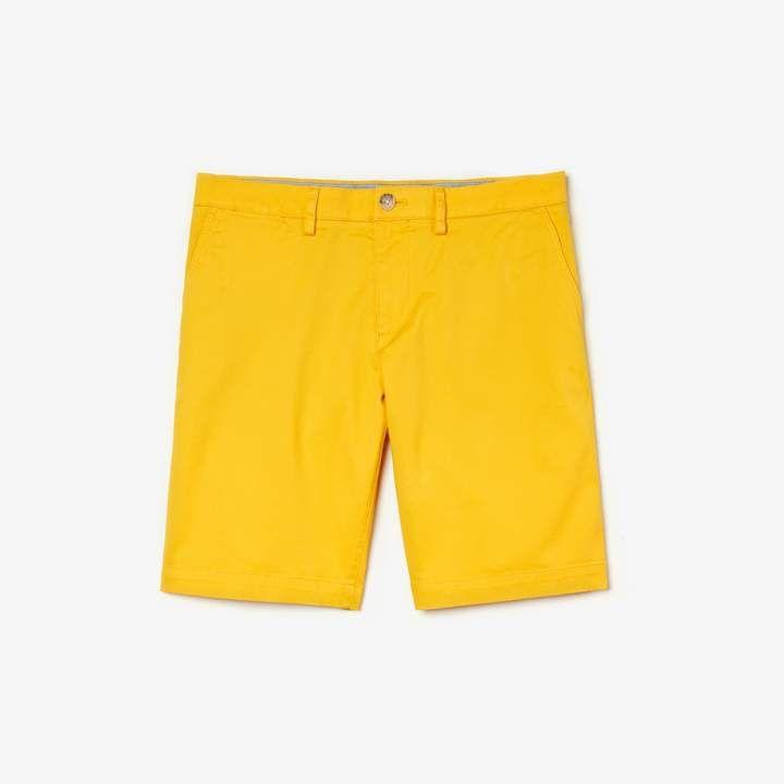 cbba895906 Men's Slim Fit Stretch Gabardine Shorts in 2019   Men's Yellow ...