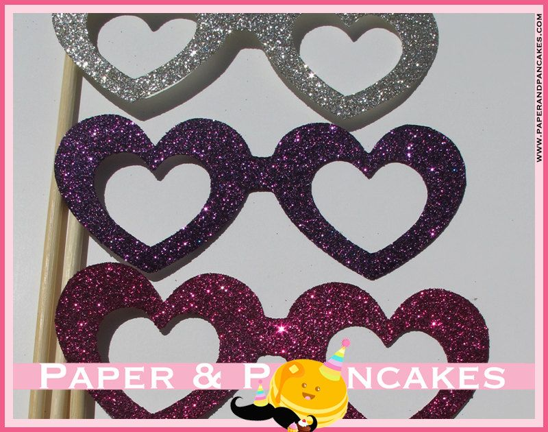 Glittered Heart Glasses - 5 Piece Photo Booth Props, Great for a Weddings, Princess Party, Sleepovers, Birthday Parties & More. $10.00, via Etsy.