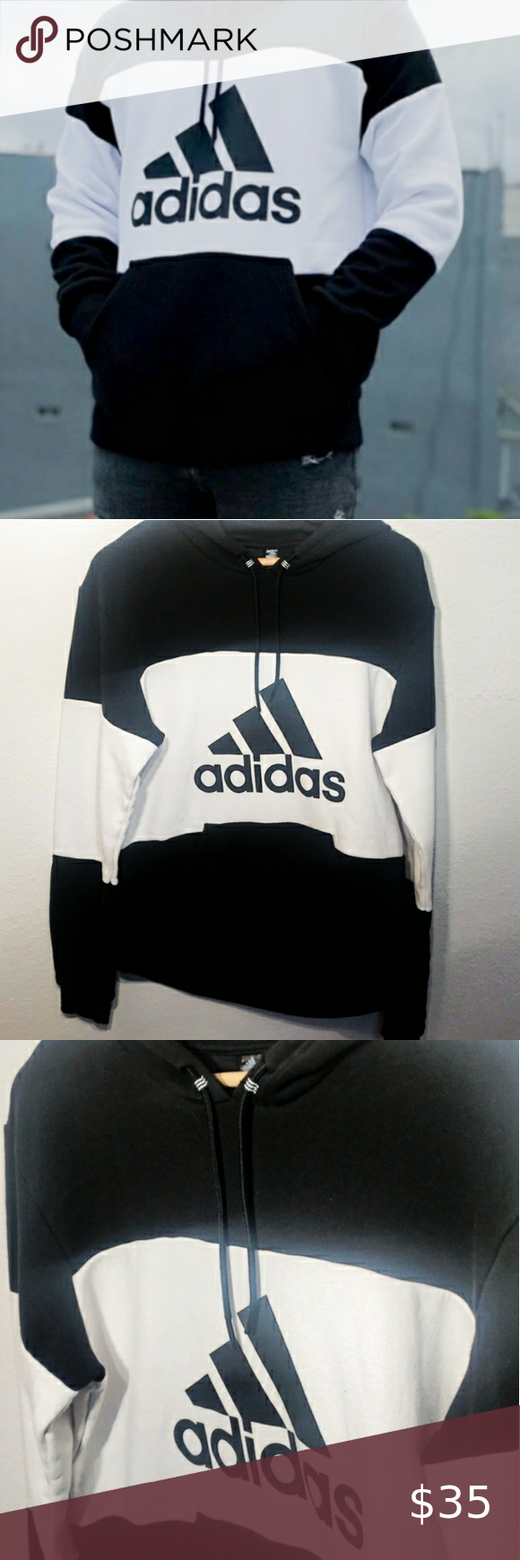 Adidas Colorblock Logo Hoodie Hoodies Unisex Fashion Black Logo [ 1740 x 580 Pixel ]