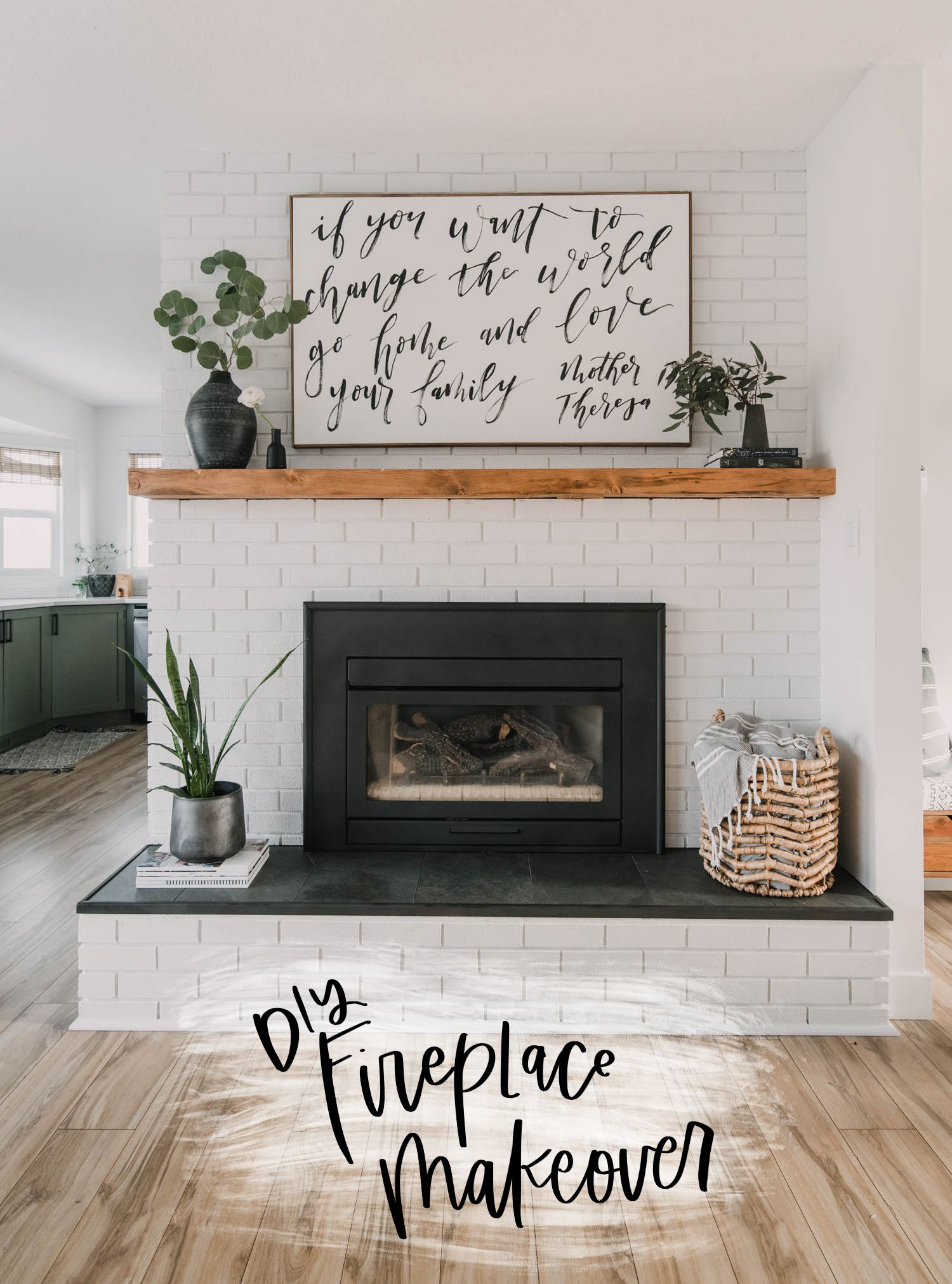 diy brick fireplace makeover in 2020 | brick fireplace makeover, diy fireplace, modern fireplace