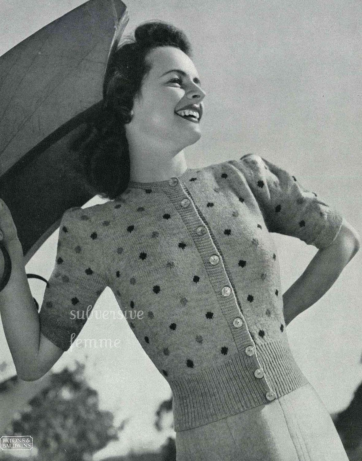 1940s knitting pattern \'Sue\', puff sleeved cardigan with polka dots ...