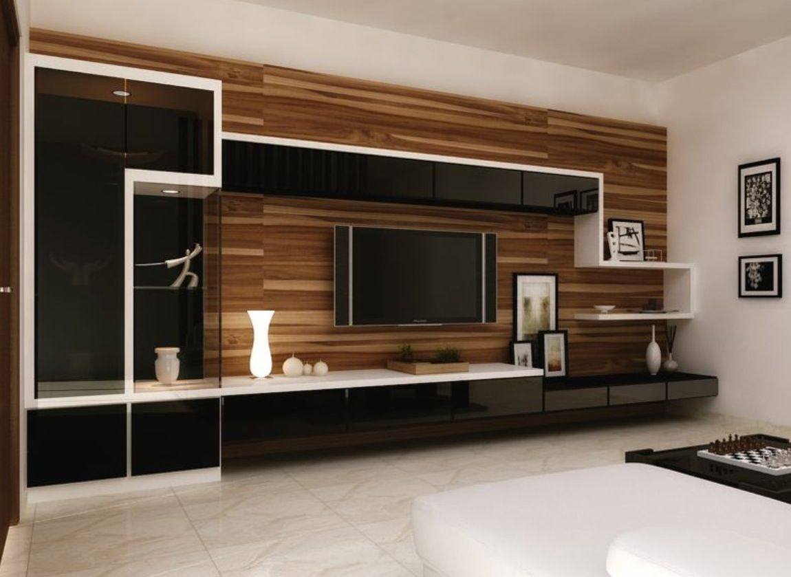 Wood Wall And Shelves Muebles De Entretenimiento Sala De
