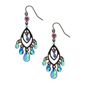 Open Black Marquis and Mirrored Bead Fringe Drop Earring,
