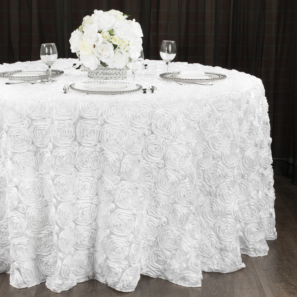 "Wedding Rosette SATIN 120"" Round Tablecloth - White (With ..."