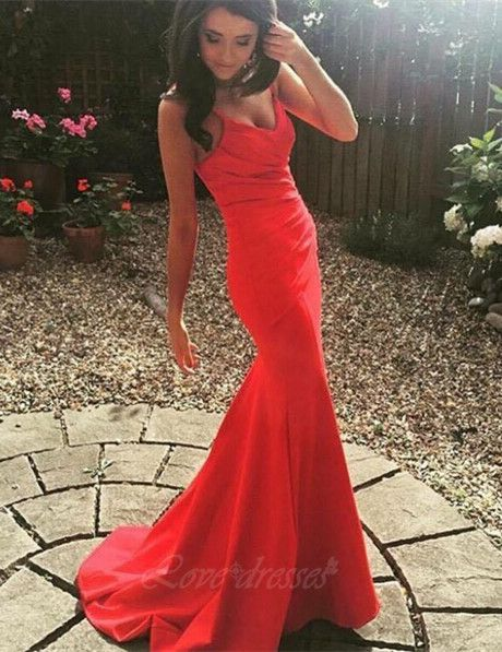 Red mermaid style prom dress