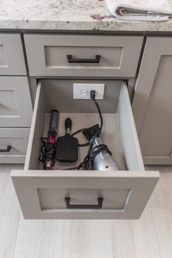 Drawer Outlet In Storage Organize Bathroom Kitchen Hiddenoutlet Outletindrawer Lifehack Hack Easytomake