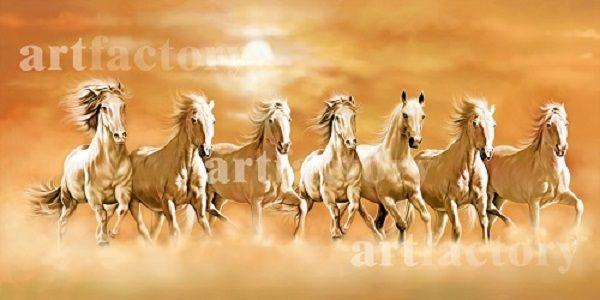 Vastu Running Seven Horse Painting   Vastu Paintings in ...