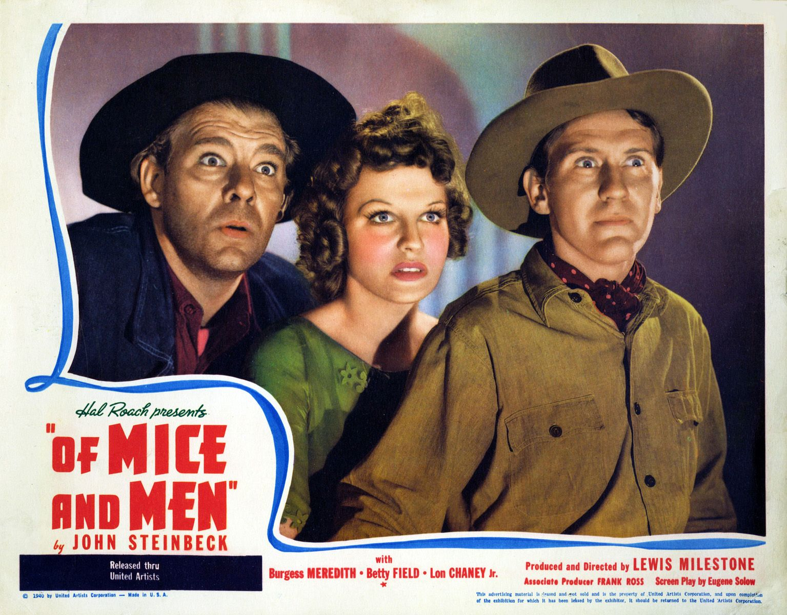 Of Mice And Men 1939 Lobby Card Burgess Meredith Betty ...