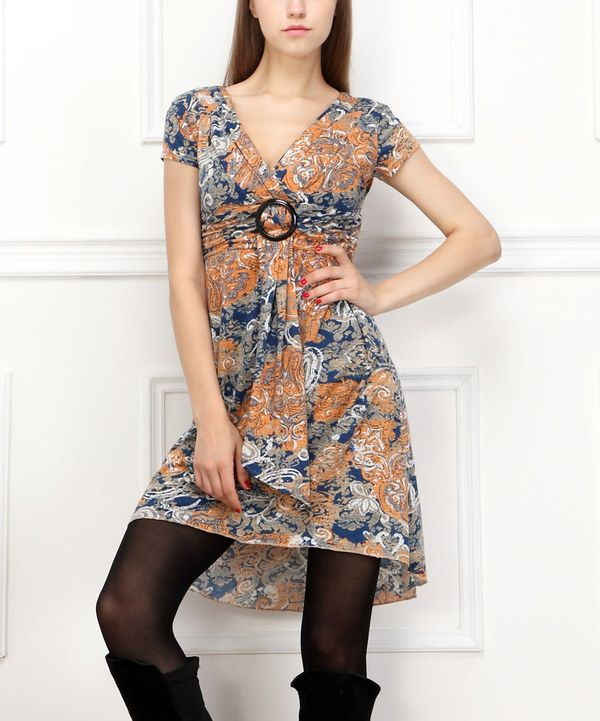 Look at this Navy & Yellow Abstract Surplice Dress - Women on #zulily today!