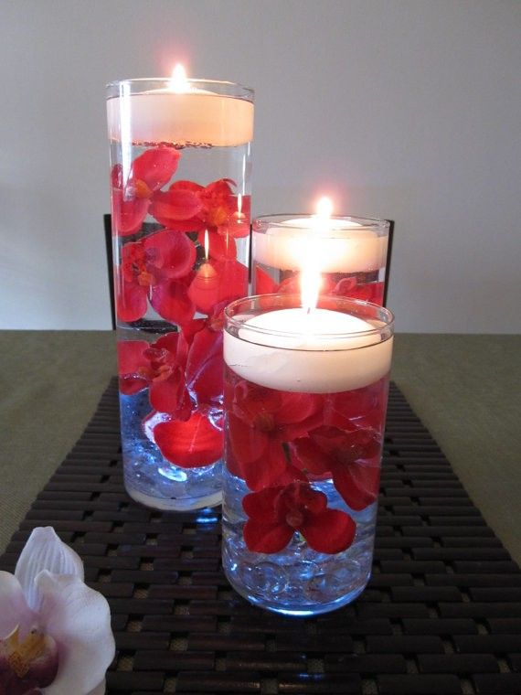 Wedding Table Floating Candle Red Oichid Flower Cneterpiece Tealight Votive Tall Glass Water