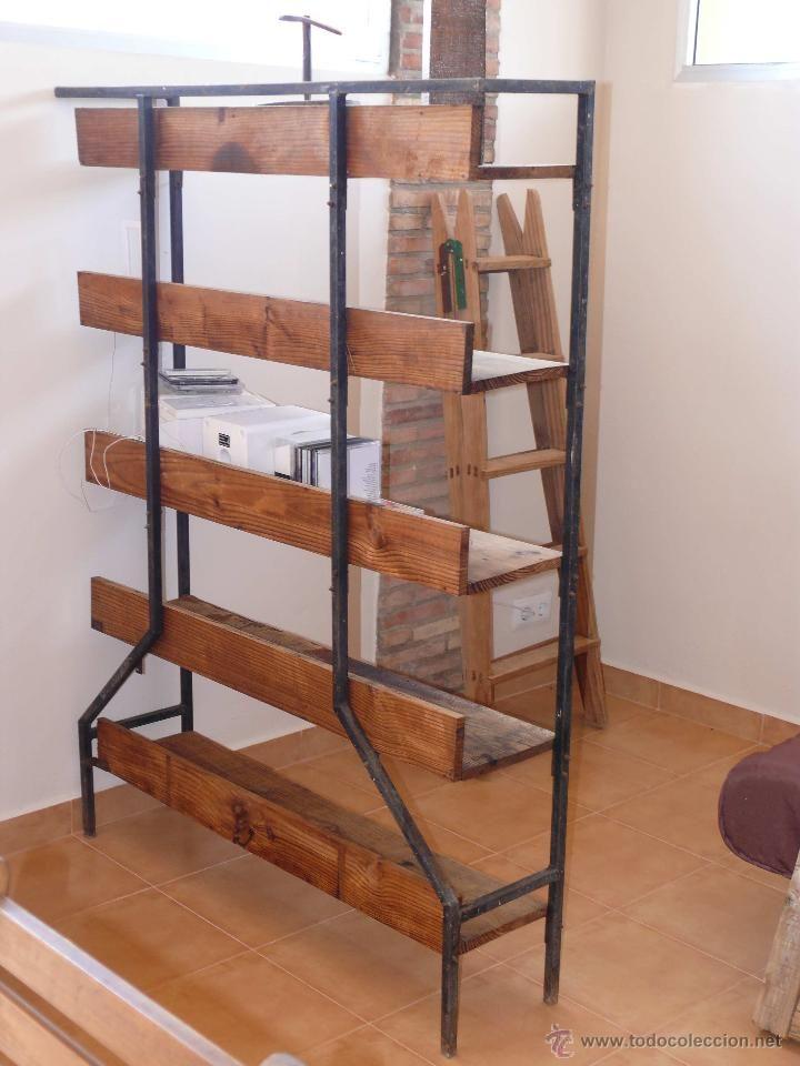 Estanter a anguila industrial en madera y hierro sirve de - Estanterias separadoras de ambientes ...