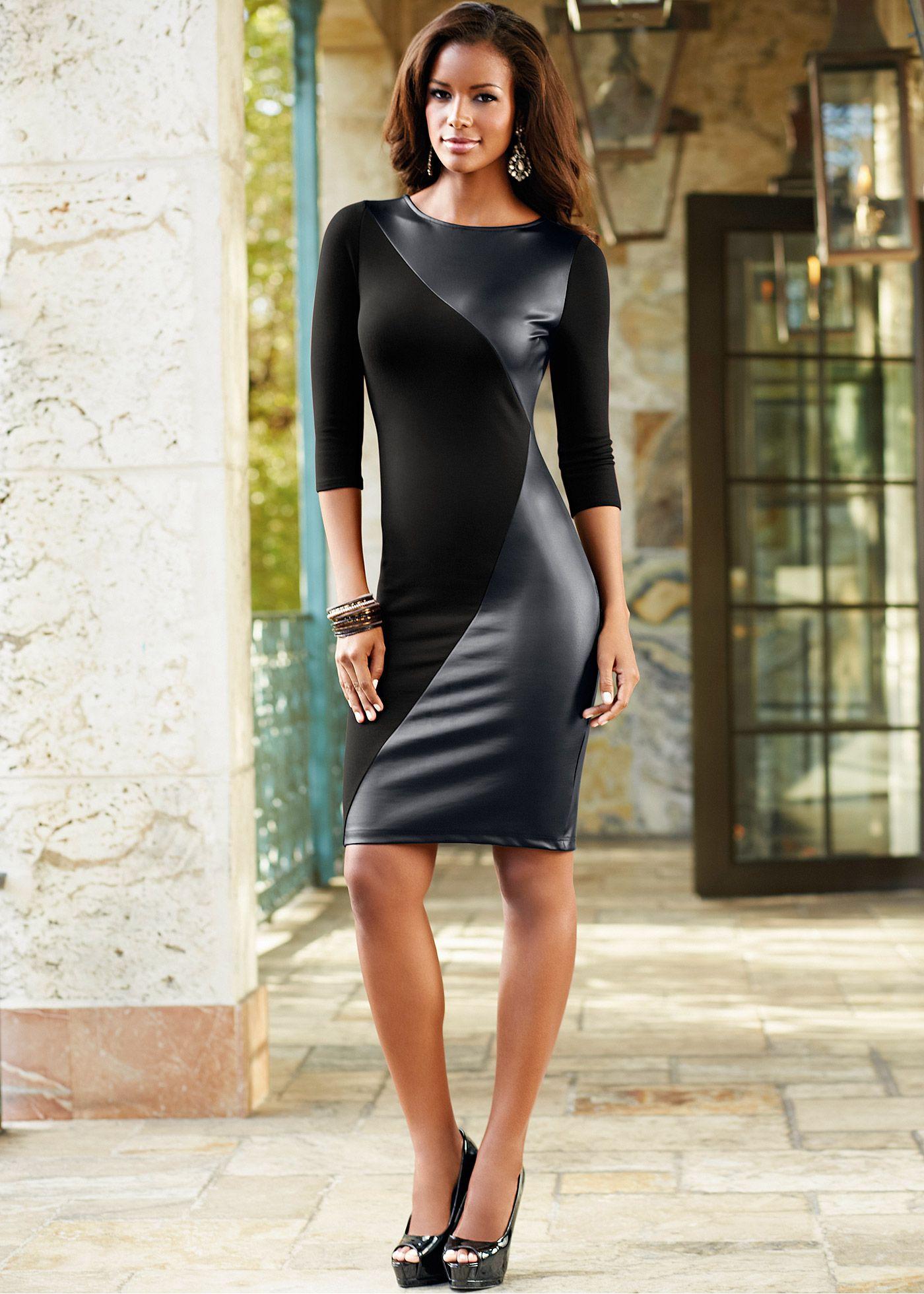 f5132c0df956 Vestido com detalhe em couro sintético | VESTIDOS | Couro sintético ...