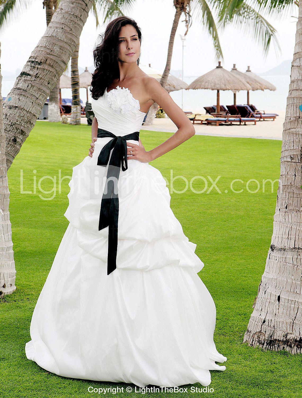 Aline princess one shoulder floor length satin taffeta wedding