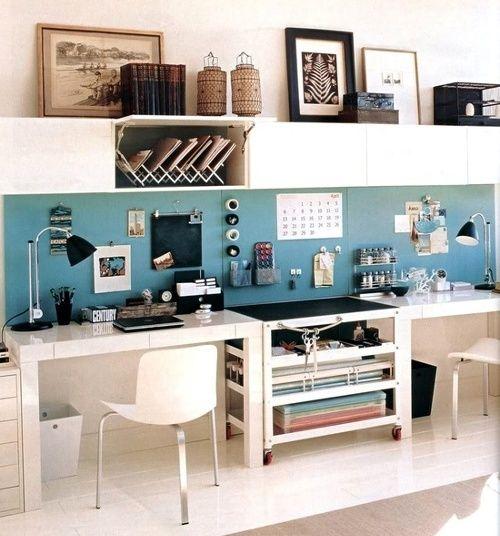 Small Office Storage Idea Paint Stripe On Back Wall For Pop Of Color Rumah Minimalis Dekorasi Interior Dekorasi Rumah