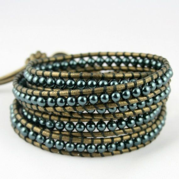 Swarovski Pearls Leather Wrap Bracelet. Everyday by Shopelegante, $105.00