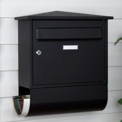 Castle Locking Wall Mount Mailbox With Newspaper Roll Black Powder Coat Amazon Com Wall Mount Mailbox Mounted Mailbox Mailbox Design